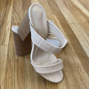 Raffia woven two strap heeled sandals